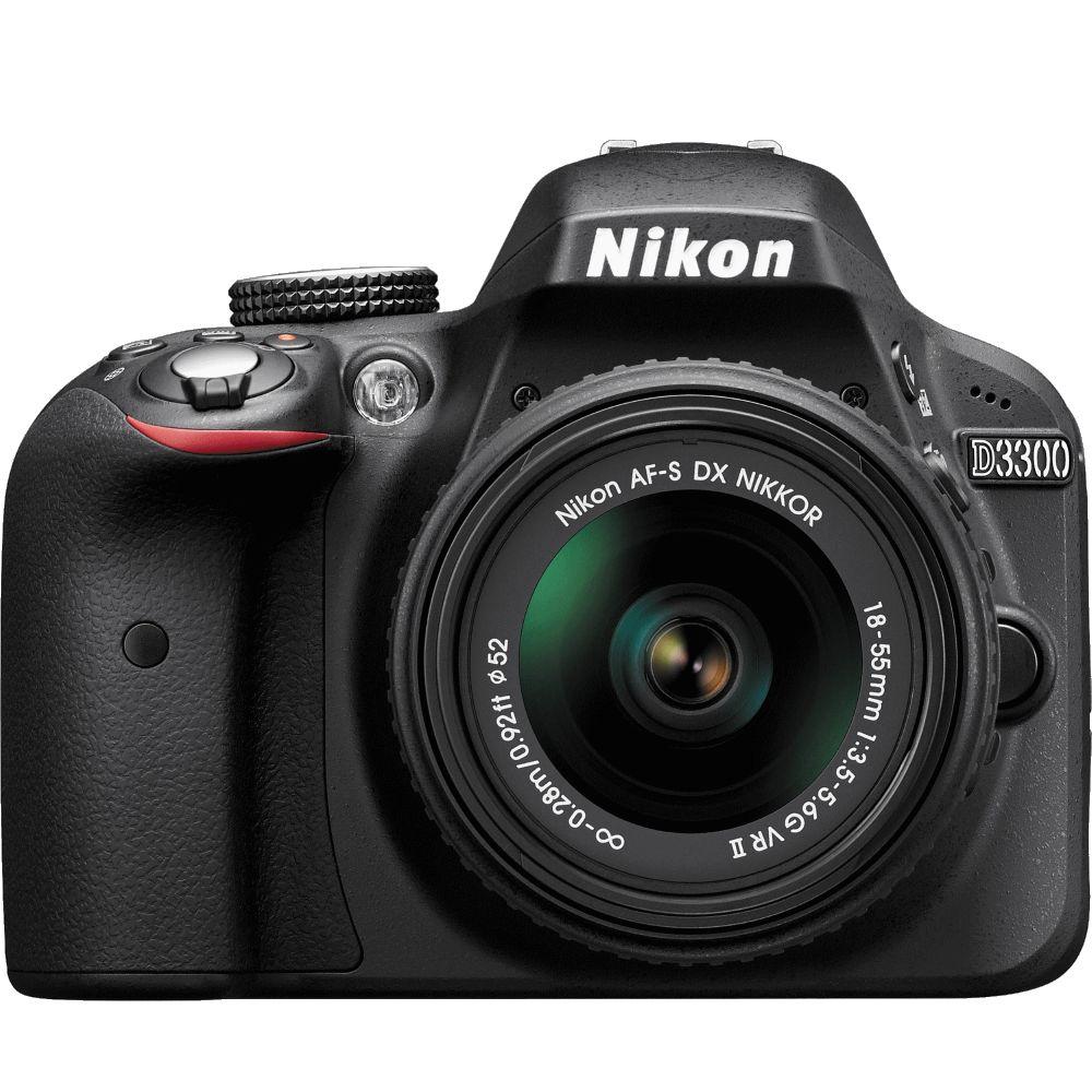 Цифровой зеркальный фотоаппарат Nikon D3300 BK KIT 18-55 VR (AF-P)Цифровые зеркальные фотоаппараты<br><br><br>Тип: Цифровая зеркальная фотокамера<br>Стабилизатор изображения: нет<br>Носители информации: SD, SDHC, SDXC<br>Видеорежим: есть<br>Звук в видеоклипе: есть<br>Вспышка: есть<br>Кроп фактор: 1.5<br>Тип матрицы: CMOS<br>Размер матрицы: APS-C (23.2 x 15.4 мм)<br>Число эффективных пикселов, Mp: 24.2