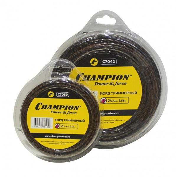 Леска Champion Magic 3.0 мм* 12 м (витой квадрат)Аксессуары для садовой техники<br>Леска CHAMPION Magic с сечением витой квадрат применяется для кошения растительности мото- и электрокосами<br><br>Тип товара: Товары для газонокосилок и триммеров<br>Тип: Леска<br>Длина: 12 м
