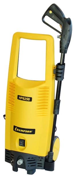 Мойка высокого давления Champion HP6250Мойки высокого давления<br><br><br>Давление, Бар: 165<br>Производительность, л/час: 396<br>Потребляемая мощность: 2.4 кВт·ч<br>Напряжение сети: 220/230 В<br>Насадки: стандартная<br>Шланг ВД: способ хранения: держатель, длина 5 м