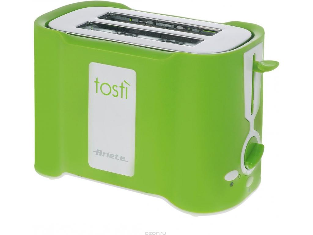 Тостер Ariete 124/22 GreenТостеры и минипечи<br>Тостер Ariete 124/22 Green Tosty – практичный и красивый тостер зеленого цвета, который сделает вашу кухню яркой. Если вам нравится красочная техника, эта модель – то, что вам нужно. Она имеет эргономичную форму и поместится даже на крошечной кухне. Мощность прибора составляет 500 Вт, поэтому, не смотря на то, что он имеет всего 2 слота, вы быстро приготовите целую гору тостов. Простой в использовании, надежный и качественный, этот тостер станет отличным подарком. Пользоваться им – одно удовольствие.<br><br>Что умеет?<br>Купить Ariete 124/22 – сделать правильный выбор. У вас...<br><br>Тип: тостер<br>Мощность, Вт.: 500<br>Тип управления: Электронное<br>Количество отделений: 2<br>Количество тостов: 2