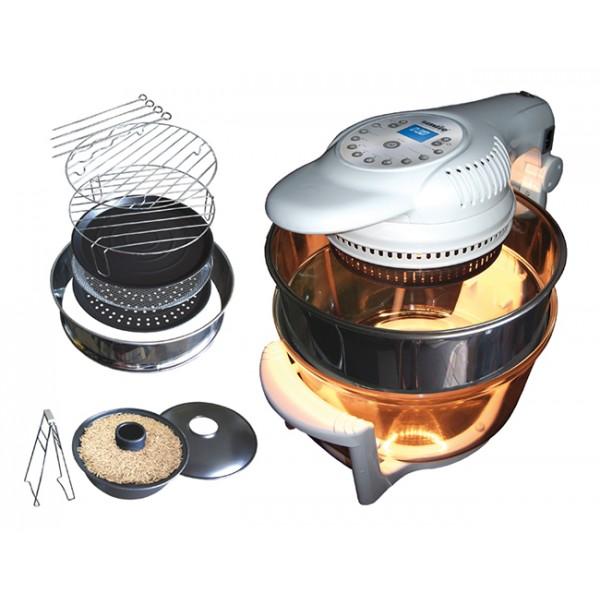 Аэрогриль Smile AG 1905Домашние помощники<br>- Объём чаши 12 л &amp;#43; кольцо из нержавеющей стали для увеличения объёма на 5 л<br>- Электронная панель управления<br>- Мощный галогеновый нагревательный элемент<br>- 10 автоматических программ<br>- Электронный индикатор температуры и времени<br>- Крышка на кронштейне<br>- Безопасный выключатель On/Off<br>- Система автоматического отключения<br>- Функция циркуляции горячего воздуха &amp;#40;конвектор&amp;#41;<br>- Принадлежности: низкая, высокая решетка, щипцы для переворачивания продуктов, противень для выпечки, сетчатый противень, пароварка, 4 шампура<br>- Рисоварка в подарок!<br>- Мощность 220–240...<br><br>Тип: аэрогриль<br>Мощность, Вт.: 1400<br>Объем: 12 л<br>Цвет: белый<br>Комплектация: расширительное кольцо, нижняя решетка, сетчатый противень, щипцы-ухваты, шампуры