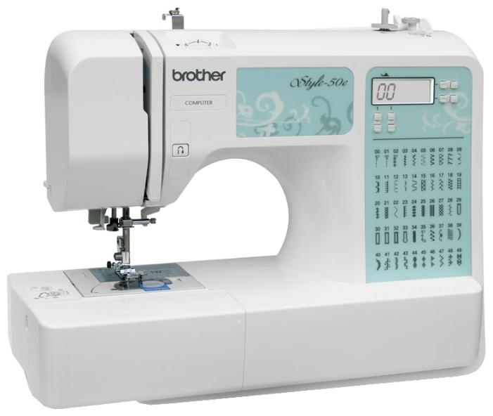 Швейная машина Brother Style-50eШвейные машины<br>Швейная машина Brother Style-50e – это электронная модель, которая обладает широчайшими швейными возможностями. 50 различных операций, включающие в себя различные декоративные строчки и возможность шитья двойной иглой, помогут воплотить в жизнь любую дизайнерскую задумку. Данная модель умеет обметывать петли 8-ю различными способами. Автоматическая заправка нити и кнопка обратного хода экономят ваше время на скучных рутинных действиях. На передней панели расположен дисплей, на котором отображаются все необходимые данные о установленных параметрах:...<br><br>Тип: электронная<br>Тип челнока: ротационный горизонтальный<br>Вышивальный блок: нет<br>Количество швейных операций: 50<br>Выполнение петли: автомат<br>Число петель: 5<br>Максимальная длина стежка: 5.0 мм<br>Максимальная ширина стежка: 7.0 мм<br>Потайная строчка : есть<br>Эластичная строчка : есть