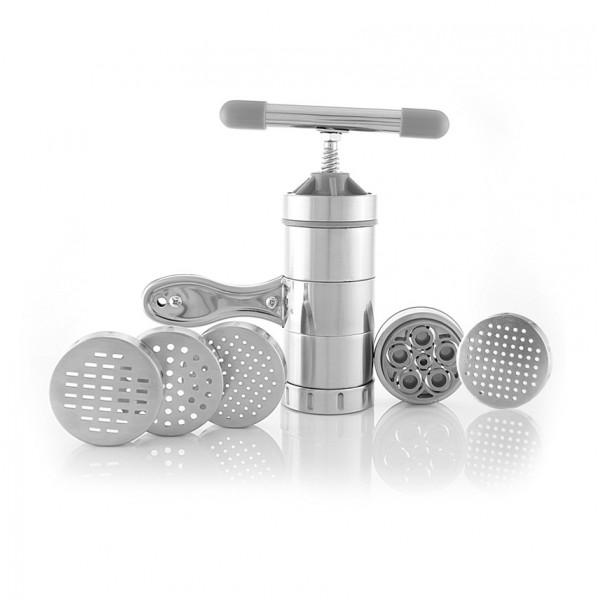 Прибор для приготовления макарон SMILE S 350Домашние помощники<br><br><br>Тип: прибор для приготовления макарон<br>Цвет: серебро<br>Комплектация: Насадка для спагетти и вермишели (1 м). Насадка для спагетти и вермишели (2 мм). Насадка для спагетти и вермишели (3 мм). Насадка для лапши (2х6 мм). Насадка для макарон и рожек (16 мм). Винтовой пресс из нержавеющей стали