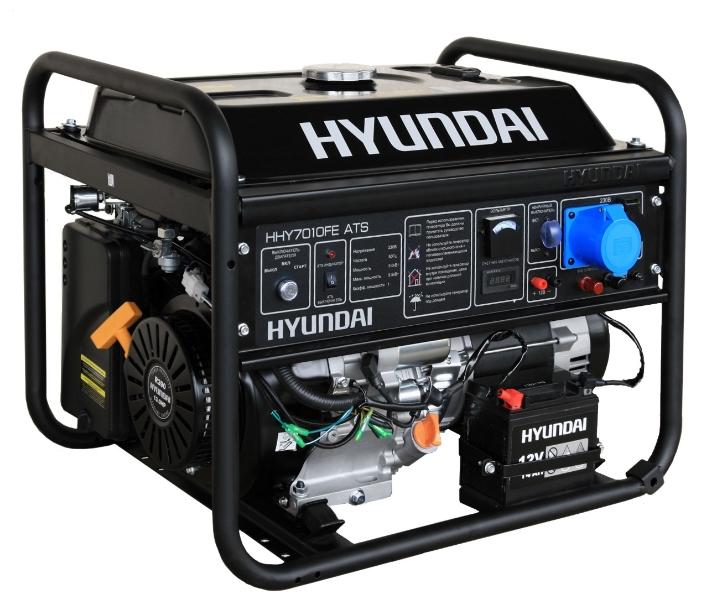Электрогенератор Hyundai HHY7010FE ATSЭлектрогенераторы<br>Бензиновый генератор Hyundai HHY7010FE ATS — компактная и мощная электростанция, предназначенная для использования в качестве резервного источника энергоснабжения. Благодаря мощному и надежному двигателю, а также великолепным техническим характеристикам этот генератор может использоваться в интенсивном режиме и практически в любой сфере деятельности.<br>Простое управление и отсутствие необходимости в трудоемком обслуживании делают эту установку крайне привлекательной для рядовых пользователей — Hyundai HHY7010FE ATS относится к серии «домашних» бензиновых...<br><br>Тип электростанции: бензиновая<br>Тип запуска: ручной, электрический, автоматический<br>Число фаз: 1 (220 вольт)<br>Объем двигателя: 389 куб.см<br>Мощность двигателя: 13 л.с.<br>Тип охлаждения: воздушное<br>Объем бака: 25 л<br>Активная мощность, Вт: 5000<br>Защита от перегрузок: есть