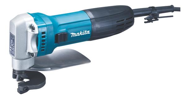 Ножницы по металлу Makita JS1602Ножницы электрические<br>Ножницы по металлу Makita JS1602 предназначены для резки листового металла толщиной до 2,5 мм. Конструкция лезвия обеспечивает работу без потерь материалов. Корпус-рукоятка с удобным выключателем обеспечивает легкость работы одной рукой. Особенностью модели является нижнее ограждение для защиты руки оператора, блокирующий выключатель, встроенный измеритель толщины, а также легкозаменяемые лезвия, с 8 режущими кромками.<br>В комплект поставки, кроме ножниц по металлу Makita JS1602 входит также набор ножей для ножниц, держатель гаечного ключа 3,4 и шестигранный...<br><br>Тип: Ножницы по металлу<br>Потребляемая мощность: 380 вт<br>Описание: толщина материала (алюминий) до 200 Н/м?: 2,5 мм. Толщина материала при 800 Н/м?: 0,8 мм. Толщина материала при 600 Н/м?: 1,2 мм. Толщина материала при 400 Н/м?: 1,6 мм