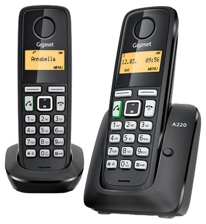 Радиотелефон Gigaset A220 DUOРадиотелефон Dect<br><br><br>Тип: Радиотелефон<br>Количество трубок: 2<br>Рабочая частота: 1880-1900 МГц<br>Стандарт: DECT/GAP<br>Радиус действия в помещении / на открытой местност: 50/300<br>Возможность набора на базе: Нет<br>Проводная трубка на базе : Нет<br>Время работы трубки (режим разг. / режим ожид.): 18 / 200 ч<br>Полифонические мелодии: 10<br>Дисплей: на трубке (монохромный с подсветкой), 1 строка
