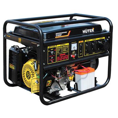 Электрогенератор Huter DY8000LЭлектрогенераторы<br>- Бензиновый электрогенератор номинальной мощностью 6,5 кВт с возможностью легкой транспортировки на колесах &amp;#40;в комплект не входят&amp;#41;.<br>- Возможность выбора альтернативного вида топлива: бензин АИ-92 либо сжиженный бытовой газ – пропан или пропан-бутан.<br>- Воздушная система охлаждения позволяет эксплуатировать прибор в широком диапазоне температур окружающей среды – от -30°С до &amp;#43;40°С.<br>- Наличие выхлопной трубы обеспечивает относительно низкий уровень шума – 81 дБ.<br>- Возможность работы на одном баке без дозаправки до 8 часов.<br>- 2 розетки для подключения...<br><br>Тип электростанции: бензиновая<br>Тип запуска: ручной<br>Число фаз: 1 (220 вольт)<br>Объем двигателя: 420 куб.см<br>Мощность двигателя: 15 л.с.<br>Тип охлаждения: воздушное<br>Объем бака: 25 л<br>Тип генератора: синхронный<br>Активная мощность, Вт: 6500<br>Защита от перегрузок: есть