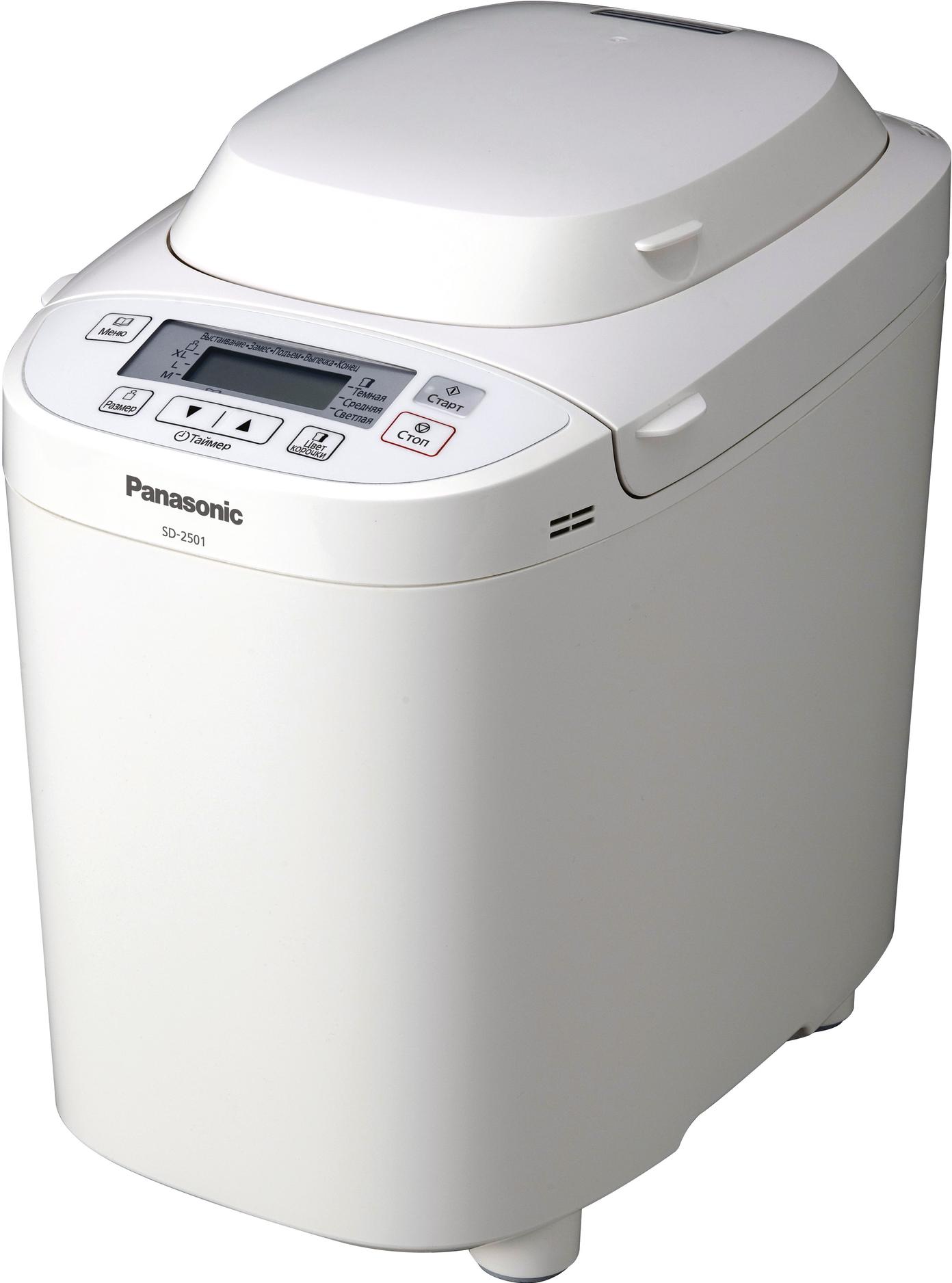 Хлебопечка Panasonic SD-2501WTSХлебопечки<br><br><br>Тип: Хлебопечь<br>Максимальный вес выпечки, г: 1025<br>Мощность, Вт: 550<br>Выбор цвета корочки: Есть<br>Таймер: Есть<br>Поддержание температуры: Есть<br>Диспенсер: Есть