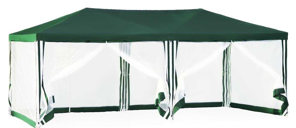 Садовый тент-шатер Green Glade 1056Садовые тенты и шатры<br>Садовый тент шатер Green Glade 1056 - огромный шатер площадью 18 кв.м. в котором с легкостью разместится большая компания. Шатер обезопасит Вас от палящего солнца, а москитная сетка поможет Вам избавиться от надоедливых насекомых.<br><br>Кемпинговый тент шатер оптимален для проведения мероприятий на открытом воздухе. Если вы решили провести пикник на свежем воздухе, вы сможете без труда установить шатер green glade 1056 на любой ровной площадке. Этот тент шатер можно брать с собой на отдых в лесу – в сложенном виде он не занимает много места и легко поместиться в ...<br>