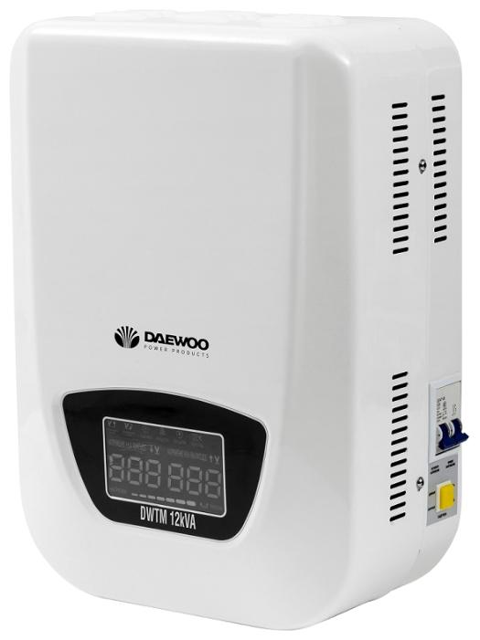 Стабилизатор напряжения Daewoo DW-TM12kVAСетевые фильтры и стабилизаторы<br>- Диапазон работы от 140 до 270В<br>- Многофункциональный цветной дисплей<br>- Управление на основе микропроцессора<br>- Медная катушка автотрансформатора<br>- Управляющие реле гарантируют высокую точность<br>- Задержка включения гарантирует защиту оборудования<br>- Принудительная система охлаждения<br>- Режим БАЙПАС<br><br>Тип: стабилизатор напряжения