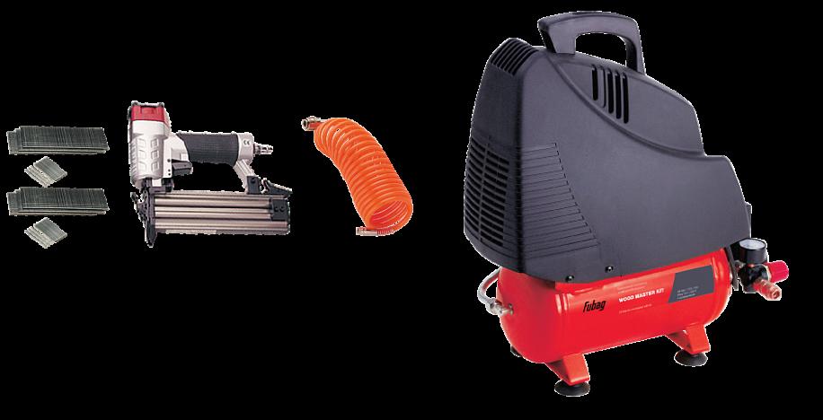 Набор компрессорного оборудования FUBAG WOOD MASTER KIT + 4Воздушные компрессоры<br>Набор предназначен для проведения крепежных работ по дереву, а также различных работ по изготовлению и ремонту мебели и деревянных конструкций. <br><br>- Компрессор <br>Суперкомпактный безмасляный компрессор с небольшим ресивером 6 литров и производительностью 180 л/мин. Легко запускается при низких температурах. Уверенно работает на неровных и наклонных поверхностях. Безмасляный компрессор - это чистый, без примесей масла, воздух на выходе, что особенно важно там, где чистота воздуха оказывает огромное влияние на результат. <br><br>- Надёжность и эффективность...<br>