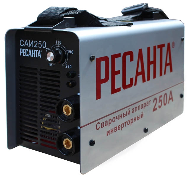 Сварочный аппарат Ресанта САИ-250Сварочные аппараты<br><br><br>Тип: сварочный инвертор<br>Сварочный ток (MMA): 10-250 А<br>Напряжение на входе: 140-260 В<br>Количество фаз питания: 1<br>Напряжение холостого хода: 80 В<br>Тип выходного тока: постоянный<br>Мощность, кВт: 7.7<br>Продолжительность включения при максимальном токе: 70 %<br>Диаметр электрода: 6 мм<br>Антиприлипание: есть