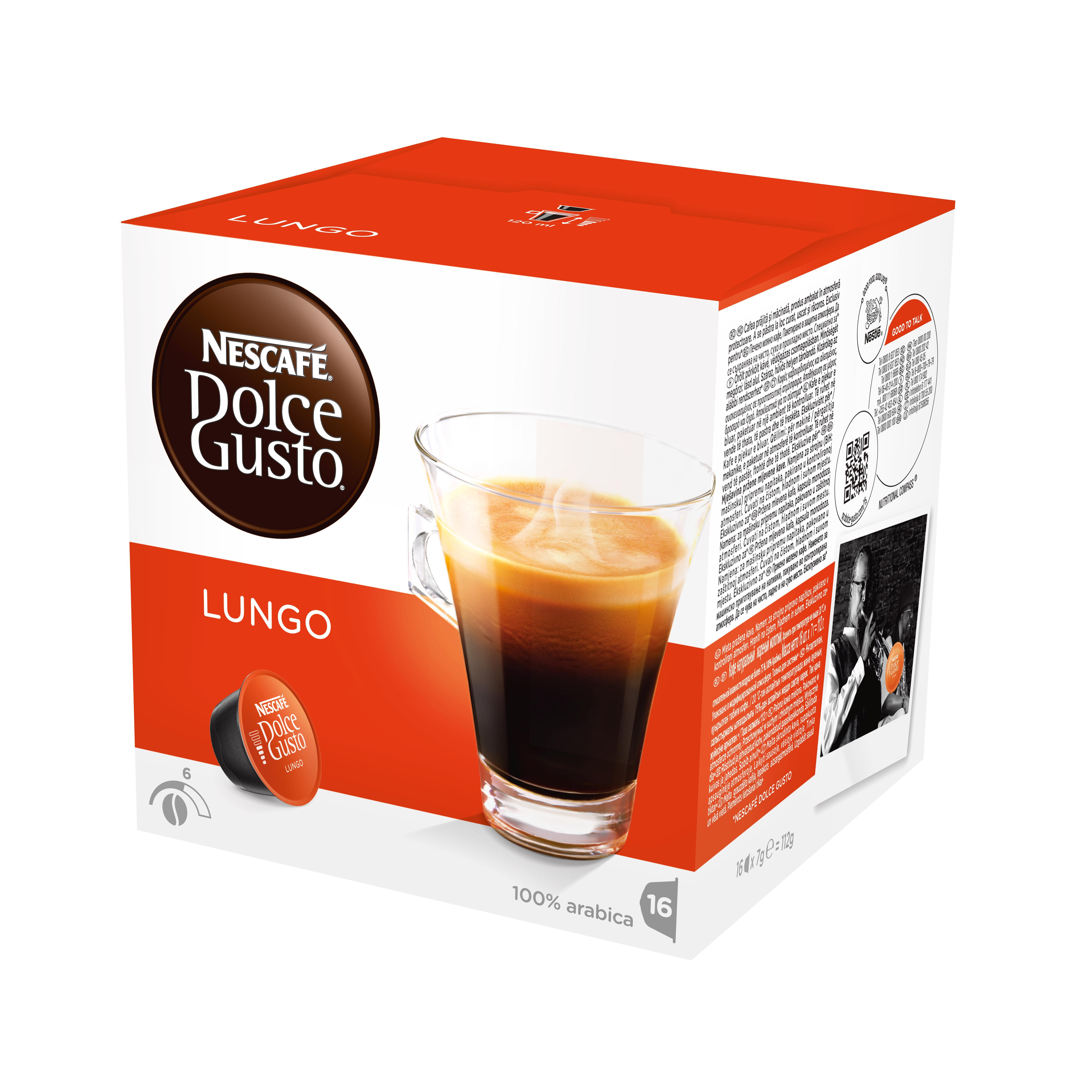 Кофе в капсулах Dolce Gusto Lungo (Лунго), 16 кап.Кофе, какао<br>Кофе в капсулах NESCAFE Dolce Gusto Lungo &amp;#40;Нескафе Дольче Густо Лунго&amp;#41;. Уникальные капсулы для домашнего приготовления кофе в новой революционной системе NESCAFE Dolce Gusto. Каждая капсула рассчитана на одну чашку напитка.<br><br>Лунго (дословно продленный эспрессо) - это средняя чашка крепкого кофе с богатым насыщенным вкусом и ароматом.<br>СОСТАВ: кофе натуральный жареный молотый<br><br>Тип: кофе в капсулах<br>Дополнительно: большая чашка крепкого кофе