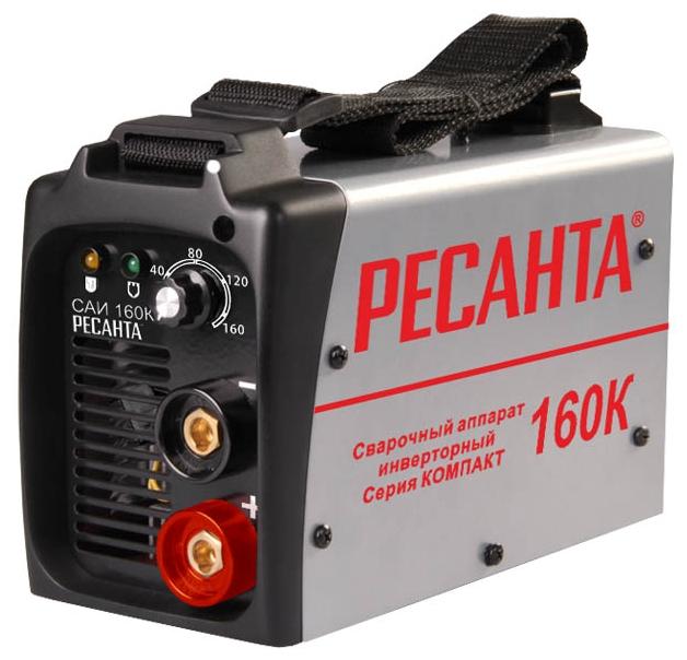 Сварочный аппарат Ресанта САИ160КСварочные аппараты<br><br><br>Тип: сварочный инвертор<br>Сварочный ток (MMA): 10-160 А<br>Напряжение на входе: 198-242 В<br>Количество фаз питания: 1<br>Напряжение холостого хода: 85 В<br>Тип выходного тока: постоянный<br>Продолжительность включения при максимальном токе: 70 %<br>Диаметр электрода: 4 мм<br>Антиприлипание: есть<br>Горячий старт: есть