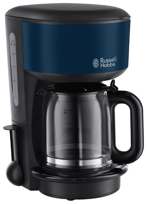 Кофеварка Russell Hobbs 20134-56 BlueКофеварки и кофемашины<br><br><br>Тип : капельная кофеварка<br>Объем, л: 1.25<br>Фильтр  : Постоянный /Одноразовый<br>Материал корпуса  : Пластик<br>Плита автоподогрева: Есть<br>Съемный лоток для сбора капель  : Нет