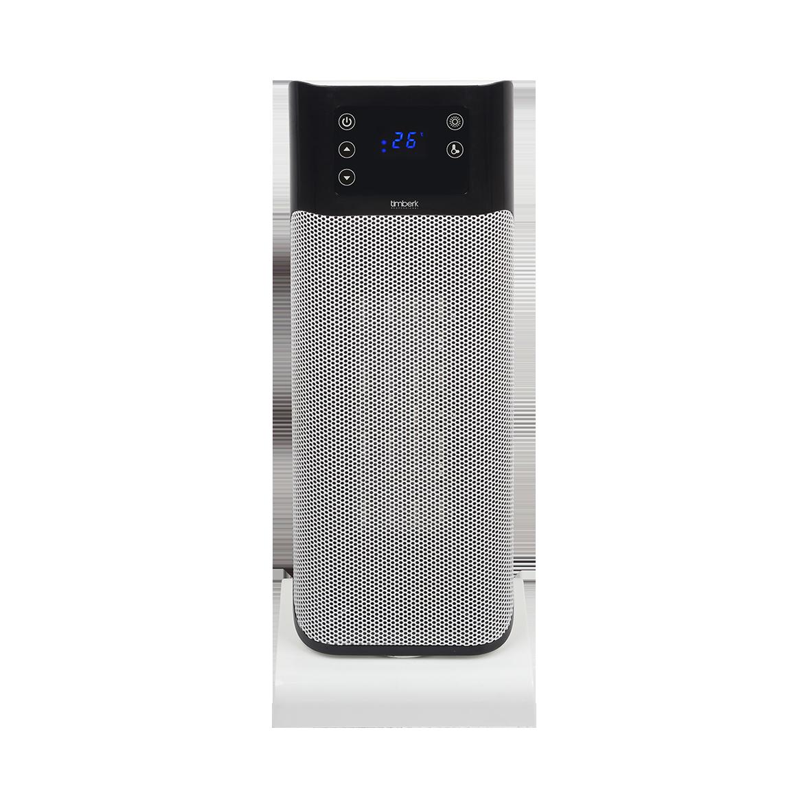 Тепловентилятор напольный TIMBERK TFH T20FSN.LZОбогреватели<br>Технология Oxygen Safe - увеличенная площадь нагревательного элемента, нагрев происходит гораздо быстрее, причём без активного сжигания кислорода<br>Два режима мощности на выбор &amp;#40;1000Вт и 2000Вт&amp;#41;<br>Многофункциональный эргономичный LED-дисплей с индикацией режимов работы и времени таймера<br>Таймер на 9 часов<br>Удобный пульт ДУ в комплекте &amp;#43; ручное управление<br>Двухуровневая защита от перегрева: термоограничитель и термопредохранитель<br>Hi-End дизайн<br>Высокоэффективный металлокерамический нагревательный элемент<br>Прибор Премиум-класса с первой ценой на рынке...<br><br>Тип: термовентилятор<br>Максимальная мощность обогрева: 2000<br>Тип нагревательного элемента: керамический нагреватель<br>Площадь обогрева, кв.м: 25<br>Вентиляция без нагрева: есть<br>Отключение при перегреве: есть<br>Вентилятор : есть<br>Управление: электронное<br>Регулировка температуры: есть<br>Термостат: есть