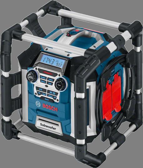 Радиоприемник Bosch GML 50 [0601429600]Радиобудильники, приёмники и часы<br>- Дистанционное управления воспроизведением музыки<br>- Различные варианты подключения &amp;#40;USB, SD, 2 x Aux In, Aux Out&amp;#41; для воспроизведения музыки, а также гнездо на 12 В=<br>- Две встроенные стандартные розетки на 230 В для подключения других инструментов с сетевым питанием<br>- Дисплей с подсветкой и элементами управления для оптимального удобства использования<br><br>Тип: Радиоприемник<br>Тип тюнера: Цифровой<br>Часы: Есть<br>Встроенный будильник  : Нет