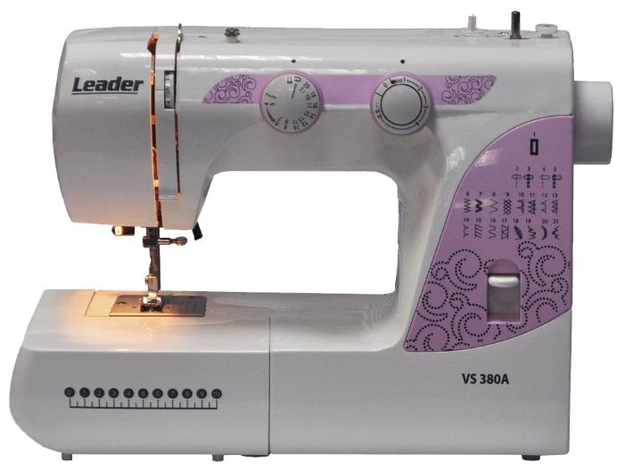 Швейная машина Leader VS 380AШвейные машины<br><br><br>Тип: электромеханическая<br>Тип челнока: качающийся<br>Вышивальный блок: нет<br>Количество швейных операций: 25<br>Выполнение петли: автомат<br>Число петель: 1<br>Максимальная длина стежка: 4.0 мм<br>Максимальная ширина стежка: 5.0 мм<br>Потайная строчка : есть<br>Эластичная строчка : есть