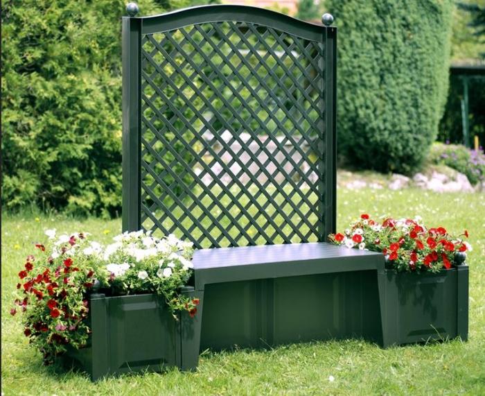 Садовая скамейка KHW Копенгаген 43503 GreenСадовые конструкции<br><br><br>Тип: садовая скамейка<br>Объем, л: 2х44<br>Материал : полипропилен<br>Шпалера в комплекте: есть<br>Ящик для растений: есть