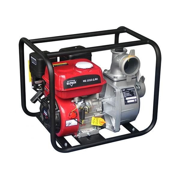 Мотопомпа Elitech МБ 1010Д80Мотопомпы<br>Мотопомпа ELITECH МБ 1010 Д 80 предназначена для перекачивания воды из открытых водоемов и резервуаров. Не предназначена для перекачивания легковоспламеняющихся, горючесмазочных материалов и нефтепродуктов, а также воды, содержащей длинноволокнистые и химические составляющие.<br><br>- 4-тактный бензиновый двигатель <br>- Металлическое рабочее колесо <br>- Датчик низкого уровня масла <br>- Стандартный диаметр патрубков.<br><br>Комплектация:<br>- Мотопомпа<br>- Патрубок для шланга &amp;#40;2шт&amp;#41;<br>- Прокладка &amp;#40;2шт&amp;#41;<br>- Фильтр всасывающий<br>- Хомут<br>- Руководство по эксплуатации<br><br>Тип: бензиновая