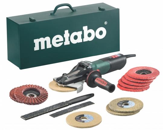Угловая шлифмашина Metabo WEVF 10-125 Quick Inox Set [613080500]Шлифовальные и заточные машины<br>Комплект поставки:<br>- Metabo WEVF 10-125 Quick Inox<br>- Защитный кожух<br>- Опорный фланец<br>- Быстрозажимная гайка<br>- Дополнительная рукоятка<br>- Ламельный шлифовальный круго Flexiamant Super Convex &amp;#40;125 мм; P60&amp;#41; - 5 шт<br>- Комбинированный ламельный шлифовальный круг &amp;#40;125 мм; среднее зерно&amp;#41; - 2 шт<br>- Компактный войлочный шлифовальный круг «Unitized» &amp;#40;125 мм, грубое зерно&amp;#41; - 2 шт<br>- Компактный войлочный шлифовальный круг «Unitized» &amp;#40;125 мм, среднее зерно&amp;#41; - 2 шт<br>- Профилирующий напильник, включающий 2 полосы шлифовальной бумаги<br>- Стальной ящик.<br> <br>Особенности модели:<br>- Управление левой рукой и резка...<br>