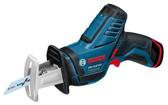Сабельная пила Bosch GSA 10,8 V-LI [060164L902]Пилы<br><br><br>Тип: сабельная пила<br>Конструкция: ручная<br>Мощность, Вт: 1800<br>Функции и возможности: подсветка, плавная регулировка скорости<br>Дополнительно: размер хода 15 мм. Число ходов в минуту 3000
