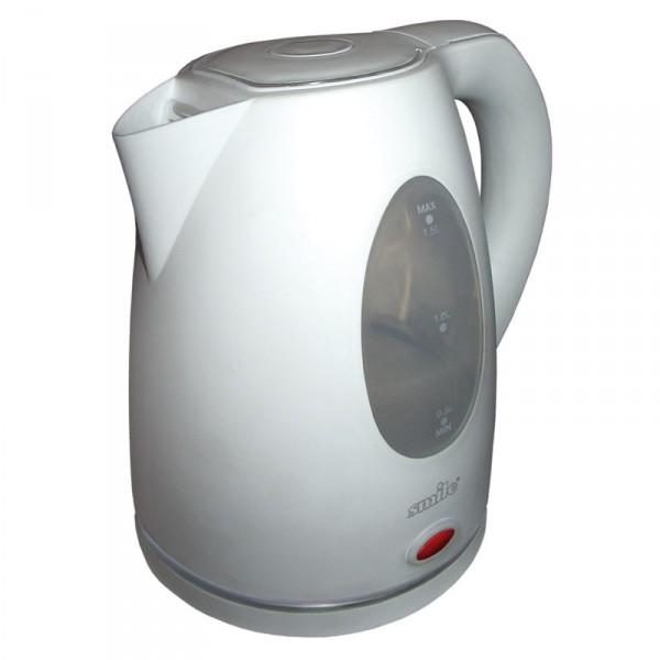 Электрочайник Smile WK1205Чайники и термопоты<br><br><br>Тип   : Электрочайник<br>Объем, л  : 1.5<br>Мощность, Вт  : 2200<br>Тип нагревательного элемента: Закрытая спираль<br>Материал корпуса  : пластик<br>Индикатор уровня воды  : Есть