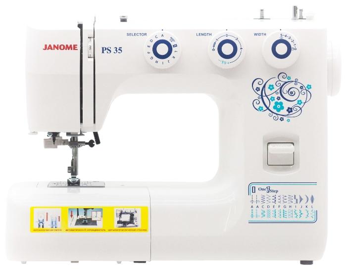 Швейная машина Janome PS 35Швейные машины<br><br><br>Тип: электромеханическая<br>Тип челнока: качающийся<br>Вышивальный блок: нет<br>Количество швейных операций: 23<br>Выполнение петли: автомат<br>Число петель: 1<br>Максимальная длина стежка: 4.0 мм<br>Максимальная ширина стежка: 5.0 мм<br>Потайная строчка : есть<br>Эластичная строчка : есть