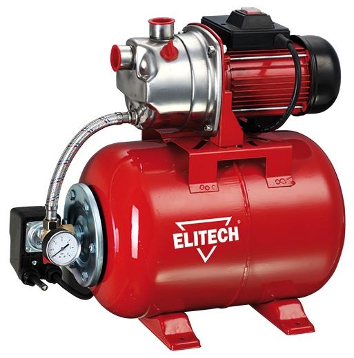 Насос Elitech САВ 1000Н/24Насосы<br>Насосная станция Elitech САВ 1000Н/24 предназначена для автоматического водоснабжения потребителей от источника воды до водоразборного узла, а также увеличения давления в действующей системе водоснабжения. Идеально подходит для водоснабжения малоэтажных домов, в которых отсутствует центральное водоснабжение.<br><br>- металлический гидроаккумулятор объемом 24 литра <br>- работа в автоматическом режиме <br>- корпус помпы из нержавеющей стали <br>- выключатель с защитой от пыли и капель воды <br>- стандартная присоединительная резьба G1<br>- Заливная и сливная пробка...<br><br>Глубина погружения: 8 м<br>Максимальный напор: 45 м<br>Пропускная способность: 3.6 куб. м/час<br>Напряжение сети: 220/230 В<br>Потребляемая мощность: 1000 Вт<br>Качество воды: чистая<br>Установка насоса: горизонтальная