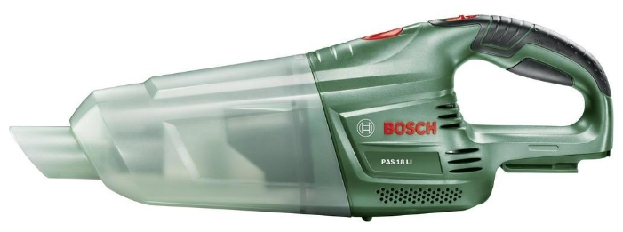 Пылесос Bosch PAS 18 LI Baretool (без аккумулятора и зарядного устройства) [06033B9001]Пылесосы<br>Максимальная производительность для любых аккумуляторных инструментов с литий-ионным аккумулятором на 10,8 В<br><br>Потребительские преимущества<br>- Мощный литий-ионный аккумулятор подходит для всех инструментов из линейки Bosch «Power4All» с аккумуляторной системой 10,8 В с литий-ионной технологией<br>- Отсутствие саморазряда и эффекта памяти, постоянная готовность к работе благодаря литий-ионной технологии<br>- Исключительно высокая долговечность аккумулятора благодаря системе защиты элементов питания Bosch Electronic Cell Protection &amp;#40;ECP&amp;#41;<br><br>Дополнительные преимущества...<br><br>Тип: Пылесос<br>Потребляемая мощность, Вт: 18<br>Тип уборки: Сухая<br>Регулятор мощности на корпусе: Нет<br>Пылесборник: Циклонный фильтр<br>Емкостью пылесборника : 0.65 л
