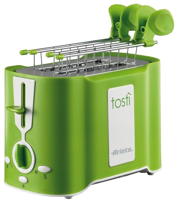 Тостер Ariete 124/12 GreenТостеры и минипечи<br>Тостер Ariete 124/12 Green Tosty – практичный и красивый тостер зеленого цвета, который сделает вашу кухню яркой. Если вам нравится красочная техника, эта модель – то, что вам нужно. Она имеет эргономичную форму и поместится даже на крошечной кухне. Мощность прибора составляет 500 Вт, поэтому, не смотря на то, что он имеет всего 2 слота, вы быстро приготовите целую гору тостов. Простой в использовании, надежный и качественный, этот тостер станет отличным подарком. Пользоваться им – одно удовольствие.<br><br>Что умеет?<br>Купить Ariete 124/12 – сделать правильный выбор. У вас...<br><br>Тип: тостер<br>Мощность, Вт.: 500<br>Тип управления: Электронное<br>Количество отделений: 2<br>Количество тостов: 2
