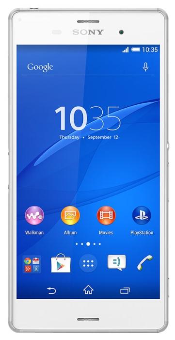 Смартфон Sony Xperia Z3 (D6603) WhiteМобильные телефоны<br><br><br>Тип: Смартфон<br>Стандарт: GSM 900/1800/1900, 3G, LTE, LTE Advanced Cat. 4<br>Поддержка диапазонов LTE: Bands 1, 3, 5, 7, 8, 20<br>Тип трубки: классический<br>SMS: Есть<br>MMS: Есть<br>Операционная система: Android 4.4<br>Тип звонка: Полифонический<br>Встроенная память: 16 Гб<br>Разъём для карт памяти: microSD