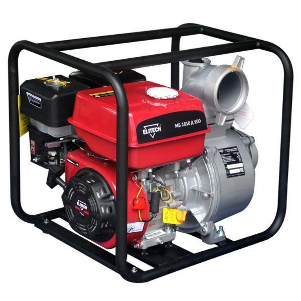Мотопомпа Elitech МБ 1610 Д 100Мотопомпы<br>Мотопомпа ELITECH МБ 1610 Д 100 предназначена для перекачивания воды из открытых водоемов и резервуаров. Не предназначена для перекачивания легковоспламеняющихся, горючесмазочных материалов и нефтепродуктов, а также воды, содержащей длинноволокнистые и химические составляющие.<br><br>- 4-тактный бензиновый двигатель <br>- Металлическое рабочее колесо <br>- Датчик низкого уровня масла <br>- Стандартный диаметр патрубков.<br><br>Комплектация:<br>- Мотопомпа<br>- Патрубок для шланга &amp;#40;2шт&amp;#41;<br>- Прокладка &amp;#40;2шт&amp;#41;<br>- Фильтр всасывающий<br>- Хомут<br>- Руководство по эксплуатации<br><br>Тип: бензиновая