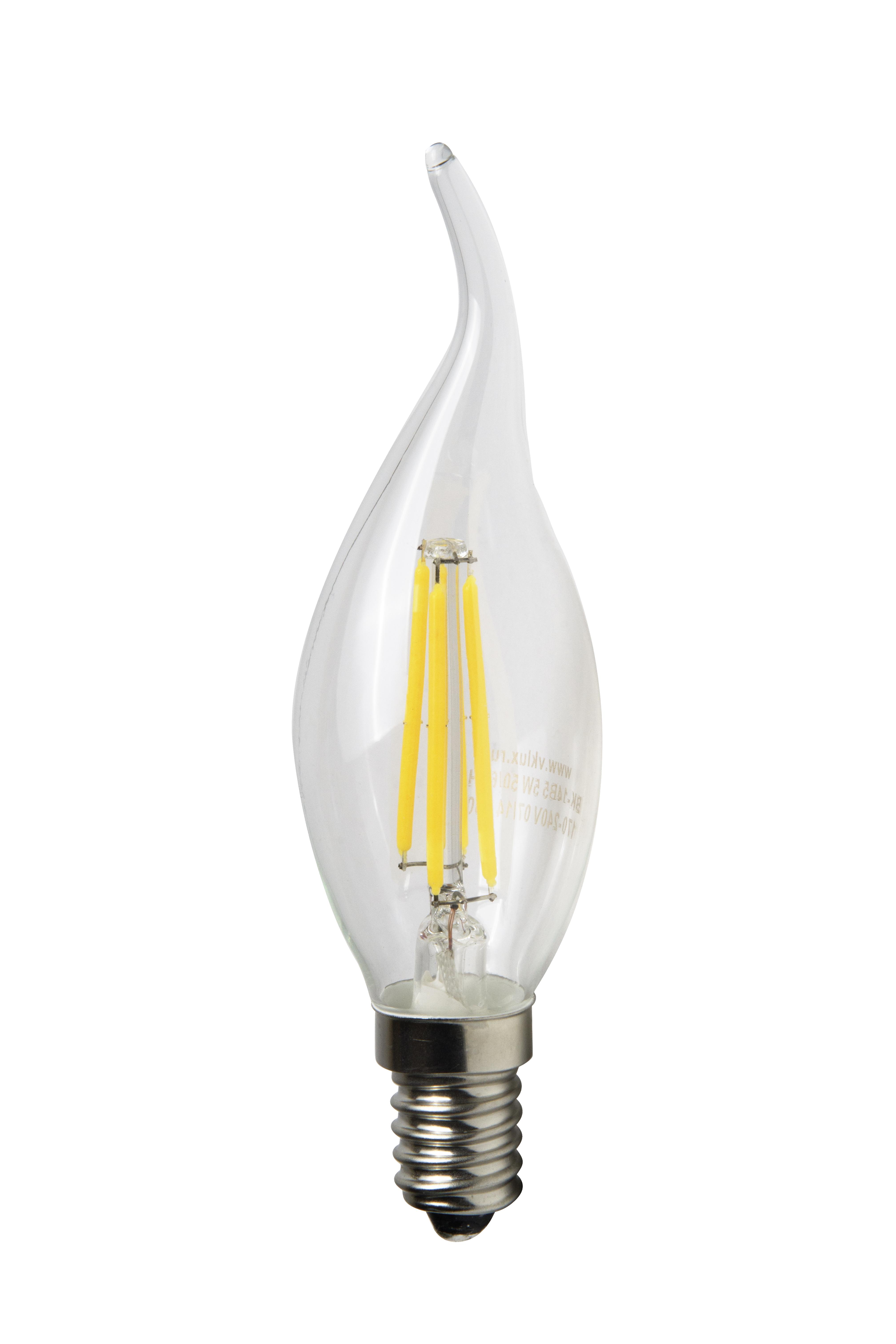Светодиодная лампа Виктел BK-14W5CF30, E14, 5W, 3000K, 550Лм Свеча на ветру