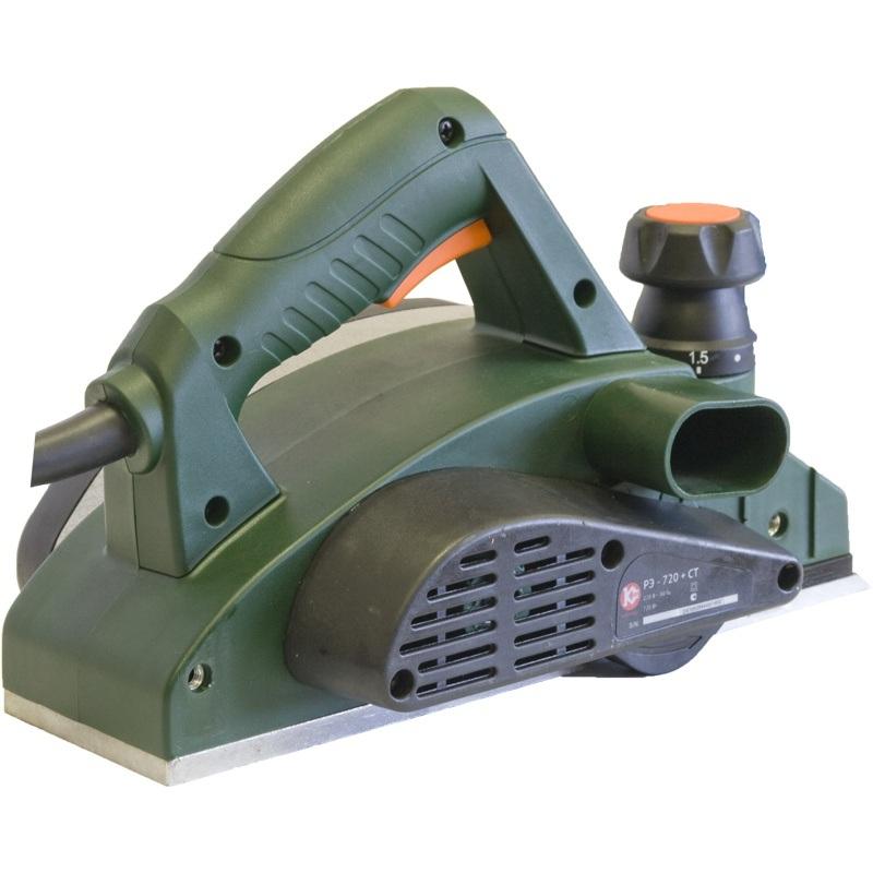 Электрорубанок Калибр РЭ-720+СТЭлектрорубанки<br>Рубанок ручной электрический Калибр РЭ-720&amp;#43;СТ предназначен для строгания плоских поверхностей древесины и строгания кромки &amp;#40;фаски&amp;#41; при изготовлении элементов деревянных конструкций. надежный рубанок Калибр, который с помощью струбцин превращается в небольшой фуговальный станок мощностью 720 Вт, шириной строгания 82 мм, регулируемой глубиной строгания от 0 до 2 мм<br>- комплектуется опорой для крепления в стационарном положении<br><br>Мощность Вт: 720<br>Максимальное количество оборотов: 14000 об/мин