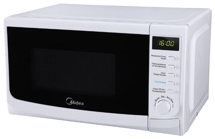 Микроволновая печь Midea AG 820 CWW-WМикроволновые печи<br><br><br>Объём, литров: 20<br>Тип: Микроволновая печь<br>Тип управления: Электронное<br>Дисплей: Есть<br>Переключатели: Тактовые\Кнопочные