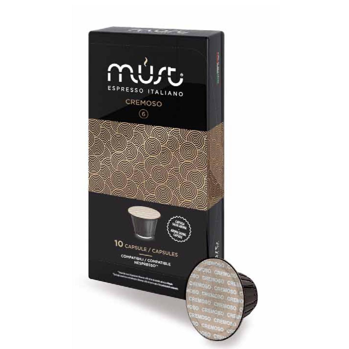 Кофе в капсулах MUST Cremoso 10шт NespressoКофе, какао<br><br><br>Тип: кофе в капсулах<br>Дополнительно: Кофе с бархатистым сливочным вкусом и пленительным ореховым ароматом. В напитке раскрываются кисло-сладкие ноты и чувствуется горчинка какао.