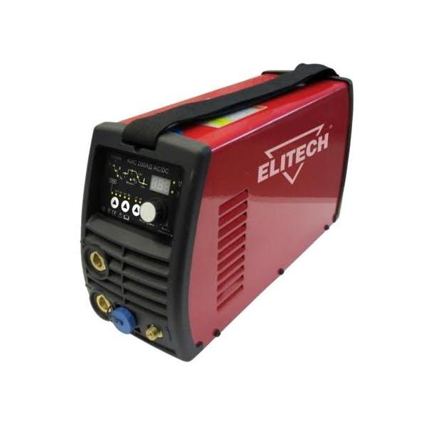 Сварочный аппарат Elitech АИС 200АД AC/DCСварочные аппараты<br>Сварочный инвертор АИС 200АД АС/DC предназначен для аргонодуговой сварки неплавящимся вольфрамовым электродом в среде инертного газа &amp;#40;чистый аргон&amp;#41; на постоянном и переменном токе. Данный инвертор создан по самой современной технологии IGBT c использованием мощных биполярных транзисторов с изолированным затвором. Аппарат обладает высокочастотным &amp;#40;бесконтактным&amp;#41; способом возбуждения дуги, тем самым увеличивая срок службы вольфрамового электрода.<br><br>- сварка алюминия и титана. <br>- стабильная работа при пониженном напряжении 160 вольт!!!-...<br><br>Тип: сварочный инвертор<br>Напряжение холостого хода: 66 В<br>Мощность, кВт: 5.6<br>Диаметр электрода: 1.6-5/1-4 мм<br>Класс изоляции: Н<br>Степень защиты: IP23