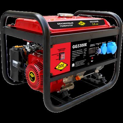 Электрогенератор DDE GG3300EЭлектрогенераторы<br><br><br>Тип электростанции: бензиновая<br>Тип запуска: ручной<br>Число фаз: 1<br>Объем двигателя: 208 куб. см.<br>Мощность двигателя: 7.0 л.с.<br>Тип охлаждения: воздушное<br>Расход топлива: АИ-92<br>Тип генератора: синхронный<br>Активная мощность, Вт: 3000