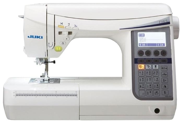 Швейная машина Juki HZL-DX5Швейные машины<br><br><br>Тип: компьютерная<br>Тип челнока: ротационный горизонтальный<br>Вышивальный блок: нет<br>Количество швейных операций: 185<br>Выполнение петли: автомат<br>Число петель: 10<br>Максимальная длина стежка: 5.0 мм<br>Максимальная ширина стежка: 7.0 мм<br>Потайная строчка : есть<br>Эластичная строчка : есть