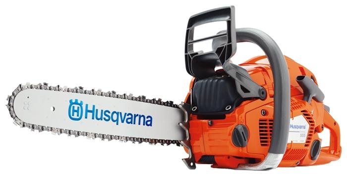 Бензопила Husqvarna 555Пилы<br><br><br>Тип: бензопила<br>Конструкция: ручная<br>Мощность, Вт: 3200<br>Объем двигателя: 59.8 куб. см<br>Функции и возможности: тормоз цепи