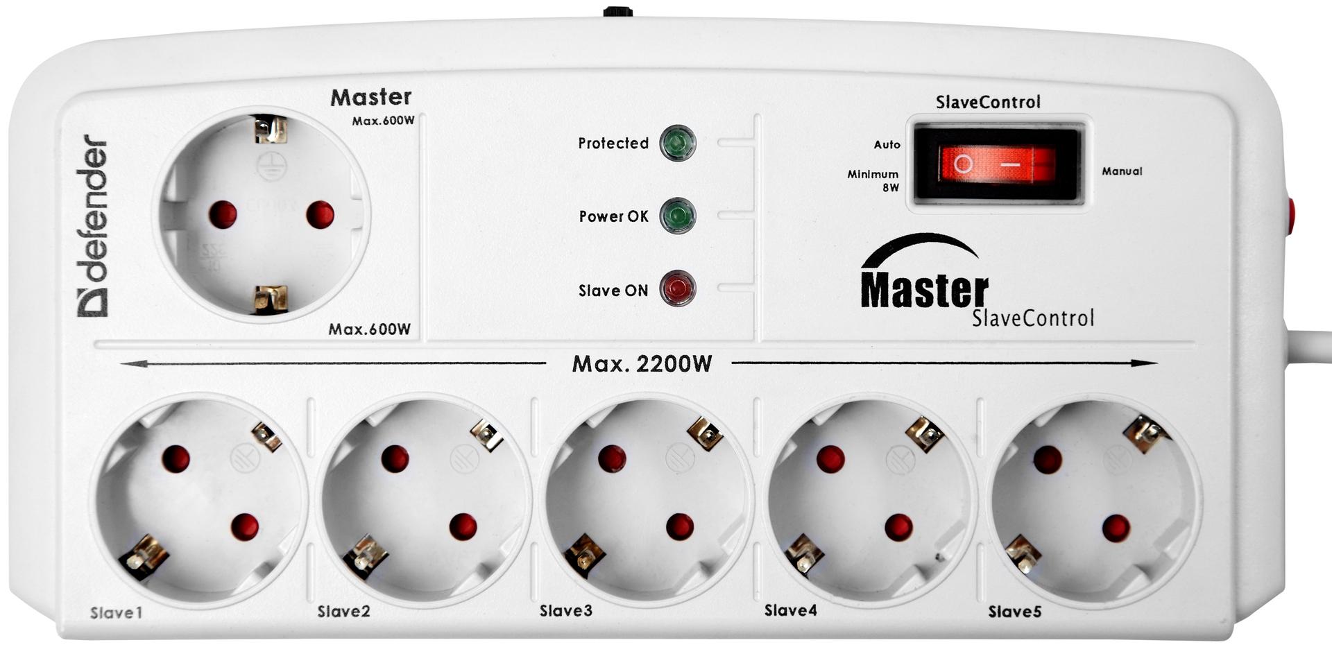 Сетевой фильтр Defender DFS 801 2 м, 6 розеток, Master SlaveСетевые фильтры и стабилизаторы<br>- Обеспечивают максимальную защиту от ВЧ и импульсных помех, обладают уникальной функцией Master/Slave - возможностью управления электропитанием периферийных устройств<br>- 6 розеток с заземлением<br>- Независимый автоматический несгораемый предохранитель<br>- Индикатор сети<br>- Индикатор состояния защиты<br>- Вакуумный разрядник<br>- Защита от импульсных и высокочастотных помех<br>- Все розетки снабжены защитными шторками от детей<br>- Проводники из чистой меди<br>- Корпус из ударостойкого негорючего пластика ABS<br>- Крепление на стену<br><br>Тип: сетевой фильтр<br>Максимальный ток нагрузки, А: 10<br>Длина шнура, м: 2.0