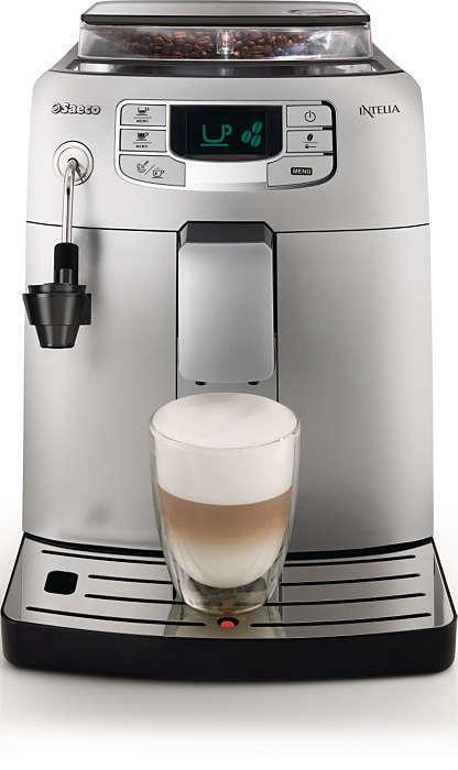 Кофемашина Saeco Intelia EVO Pearl silver/Black HD8752/99Кофеварки и кофемашины<br>Идеальный эспрессо? Что может быть проще! Функция предварительного заваривания обеспечивает более насыщенный вкус, а крепость и объем порции регулируются с помощью панели управления, оснащённой цифровым дисплеем. Высокая энергоэффективность. Быстрое приготовление эспрессо и кофе лунго. Благодаря автоматической промывке, Вы всегда получите максимальную свежесть в каждой чашке кофе: кофеварка автоматически выполняет очистку перед включением и выключением режима ожидания.<br><br>Тип используемого кофе: Молотый<br>Мощность, Вт: 1900<br>Объем, л: 1,5<br>Материал корпуса  : Пластик<br>Емкость контейнера для зерен, г  : 300<br>Одновременное приготовление двух чашек  : Есть