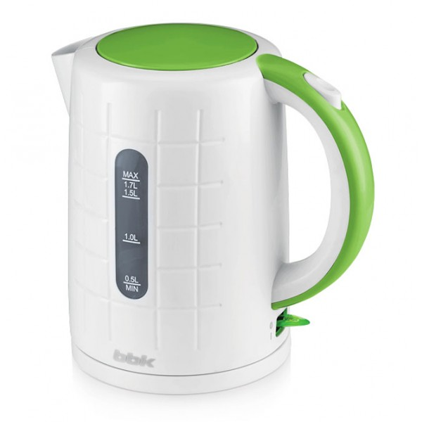 Электрочайник BBK EK 1703 P White/GreenЧайники и термопоты<br>Новый электрический чайник из термостойкого экологически чистого пластика, мощностью 2200 Bт и емкостью 1,7 литра - это не просто стильный, но и многофункциональный прибор для вашей кухни.<br><br>Благодаря английскому контроллеру, установленному в приборе, чайник прослужит в 5 раз дольше обычного, обеспечивая до 15000 закипаний. Модель оснащена многоуровневой защитой: автоматическое отключение при закипании, отключение при недостаточном количестве воды&amp;nbsp;&amp;nbsp;и отключение при снятии чайника с базы.<br><br>Прибор установлен на удобную подставку с возможностью...<br><br>Тип   : Электрочайник<br>Объем, л  : 1.7<br>Мощность, Вт  : 2200<br>Тип нагревательного элемента: Закрытая спираль<br>Материал корпуса  : пластик<br>Подсветка  : Есть<br>Индикатор уровня воды  : Есть<br>Блокировка включения без воды  : Есть<br>Фильтр  : Есть