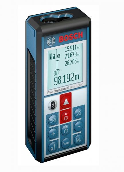 Лазерный дальномер Bosch GLM 100 C [0601072700]Измерительные инструменты<br>- Быстрая и эффективная передача данных через Bluetooth и Micro-USB<br>- Простой обмен и «умное» протоколирование результатов измерений посредством приложения GLM measure&amp;document<br>- С помощью приложения GLM floor plan можно создавать новые планы &amp;#40;строительные чертежи&amp;#41; в цифровом виде, импортировать уже существующие, редактировать их и экспортировать результат работы<br>- Дополнительные возможности за счет встроенного датчика наклона на 360°<br>- Автоматическое сохранение результатов последних 50 измерений и одной постоянной<br>- Высокая точность и простота в использовании...<br>