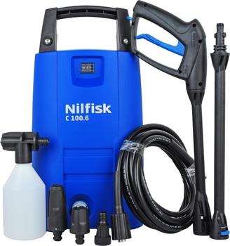 Мойка высокого давления Nilfisk Compact C100.6-5Мойки высокого давления<br><br><br>Давление, Бар: 100<br>Производительность, л/час: 440<br>Материал корпуса насоса: алюминий<br>Потребляемая мощность: 1.3 кВт·ч<br>Напряжение сети: 220/230 В<br>Насадки: стандартная<br>Шланг ВД: длина 5 м