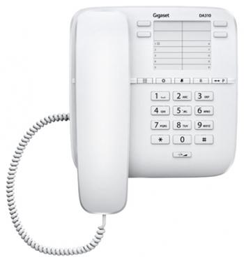Проводной телефон Gigaset DA310 IM, белыйПроводные телефоны<br><br><br>Тип: проводной телефон<br>Память (количество номеров): 14<br>Однокнопочный набор (количество кнопок): 14<br>Повторный набор номера: есть<br>Тональный набор: есть<br>Кнопка выключения микрофона: есть<br>Регулятор уровня громкости: есть<br>Возможность настенной установки: есть