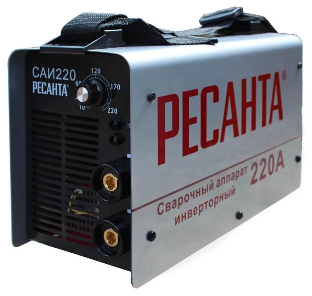 Сварочный аппарат Ресанта САИ-220Сварочные аппараты<br><br><br>Тип: сварочный инвертор<br>Сварочный ток (MMA): 10-220 А<br>Напряжение на входе: 140-260 В<br>Количество фаз питания: 1<br>Напряжение холостого хода: 80 В<br>Тип выходного тока: постоянный<br>Мощность, кВт: 6<br>Продолжительность включения при максимальном токе: 70 %<br>Диаметр электрода: 5 мм<br>Антиприлипание: есть