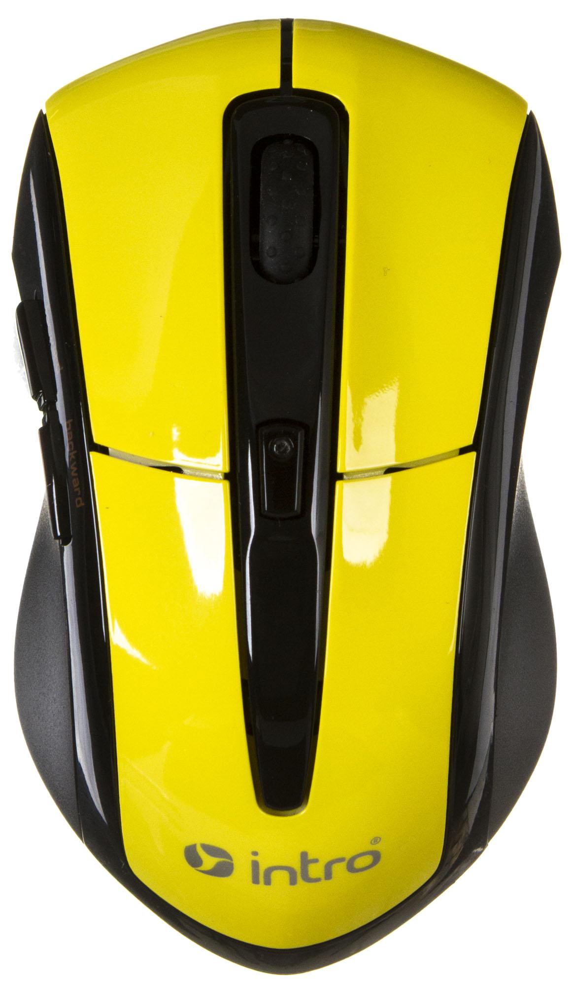 Компьютерная мышь Intro MW207 mouse Wireless Black-Yellow USB