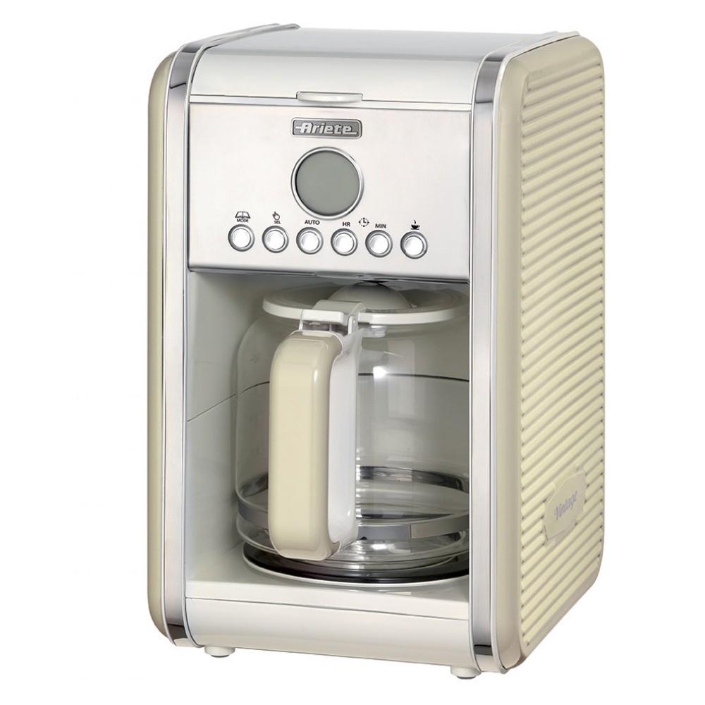 Кофемашина Ariete 1342 Vintage BeigeКофеварки и кофемашины<br><br><br>Тип используемого кофе: Молотый<br>Фильтр  : Постоянный<br>Материал корпуса  : Пластик<br>Плита автоподогрева: Есть<br>Съемный лоток для сбора капель  : Нет